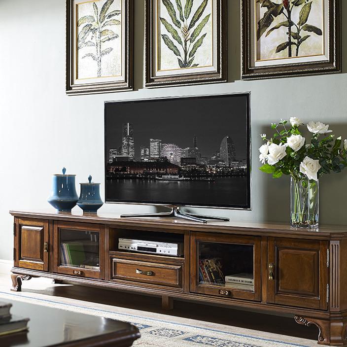 美式实木电视柜乡村地柜矮柜复古简约客厅茶几电视柜组合M5133