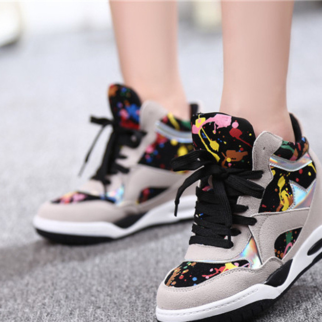 Hot style 2019 high-top camo grey casual shoes invisible inside elevated women's sneaker a replacement