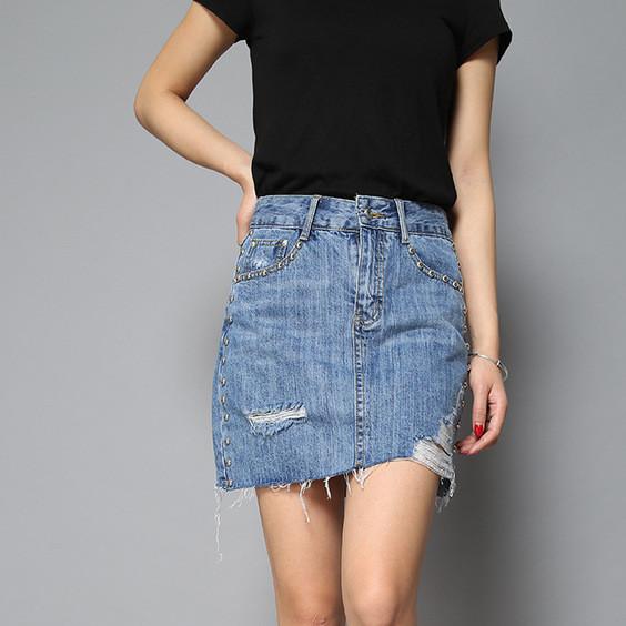 牛仔裙包臀裙女装2019春女士牛仔裙潮流街头磨破做旧女牛仔包臀裙