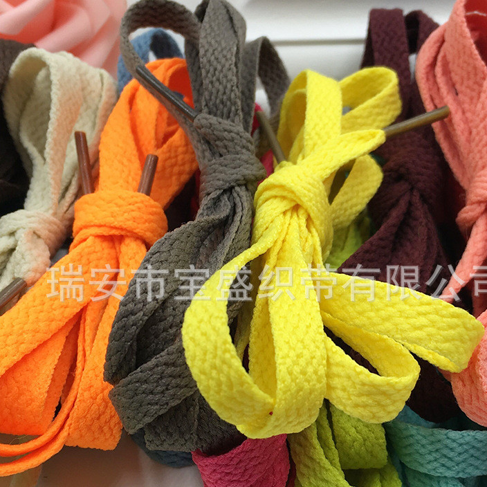 Shoelace manufacturers direct 9MM flat polyester shoelace rope black and white color canvas shoes sports shoelace length customization