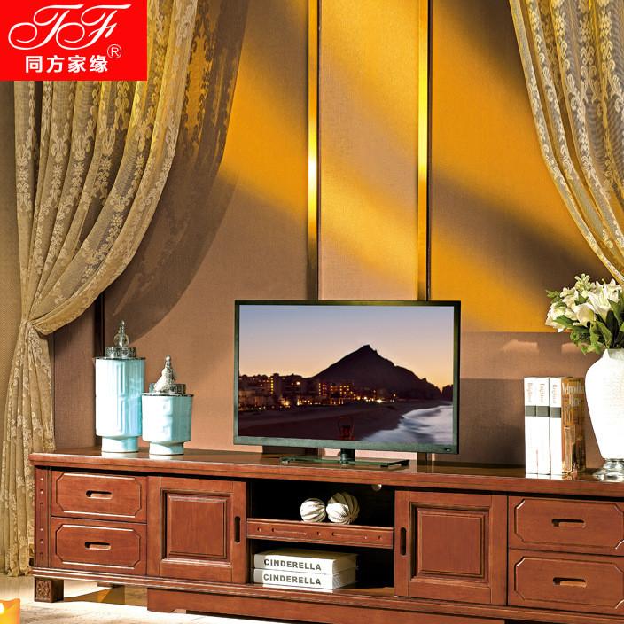 工厂直销地中海客厅橡木地柜实木电视柜简约现代中式电视柜批发