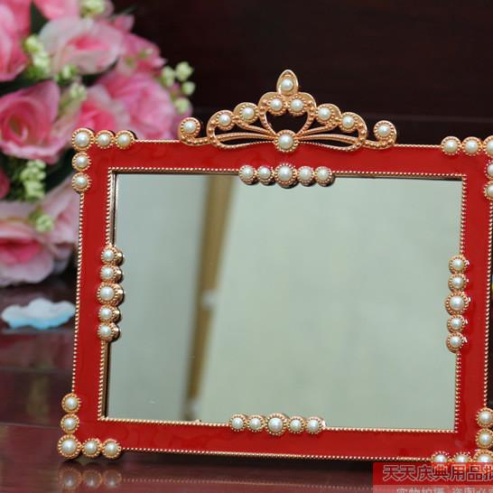 批发婚庆用品 新娘嫁妆红色桃心结婚梳妆台化妆镜子新人必备道具