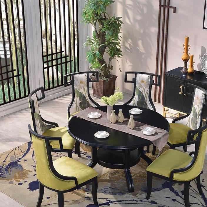 新中式禅意实木餐桌椅组合现代仿古餐厅实木家具饭店酒店桌椅定制