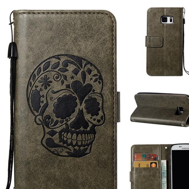 三星S5 S6 S7/EDGE创意骷髅头压花手机套 插卡支架反扣手机皮套
