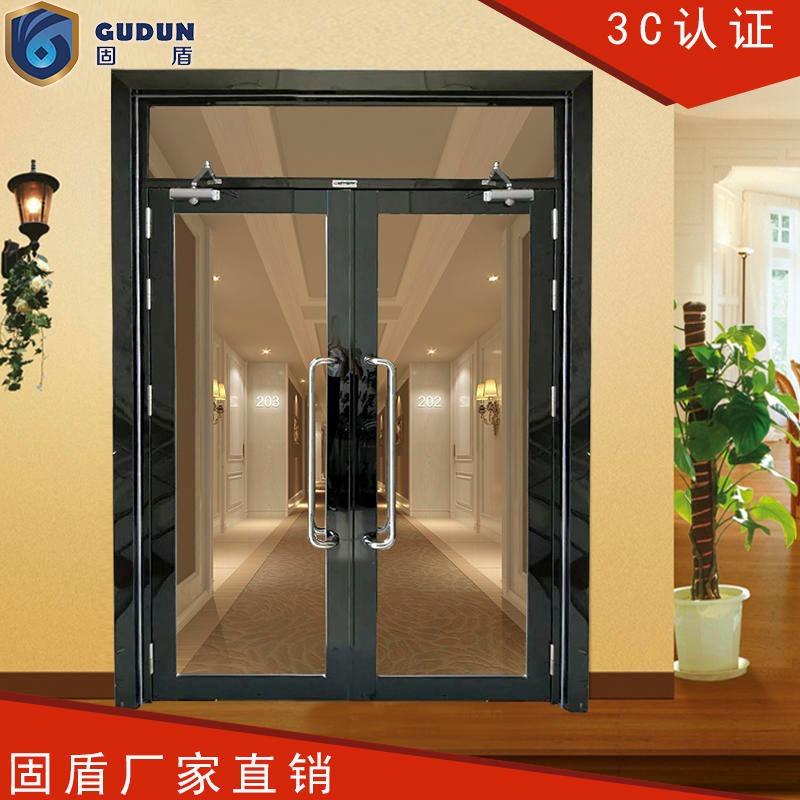 黑钛大玻璃不锈钢防火门出货快,固盾黑钛大玻璃防火门保证消防验收