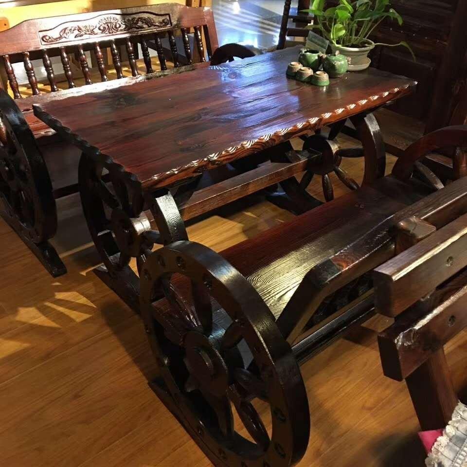 防腐木桌椅 碳化木桌椅 防腐木车轮椅 沈阳市佳梦源