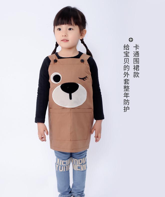 呼西贝儿童纯棉防水罩衣宝宝吃饭画画反穿衣幼儿园围裙倒背衫罩衣