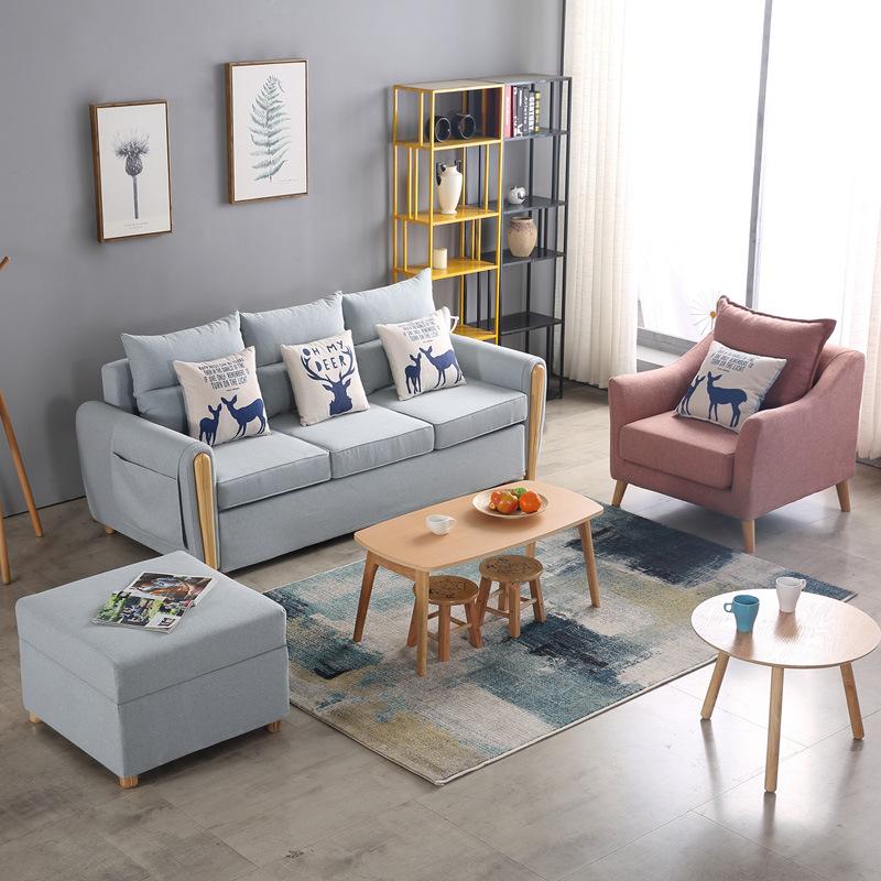 厂家供应 830款布艺沙发 多功能组合沙发北欧布艺实木框架沙发