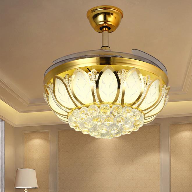 现代水晶隐形吊扇灯莲花豪华风扇灯LED变光遥控简约客厅灯餐厅灯