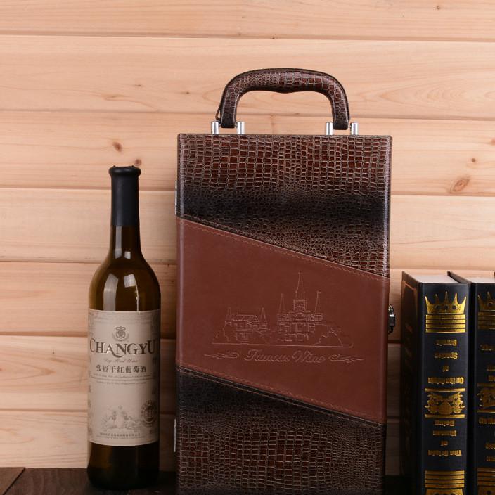 厂家批量定做红酒盒 红酒皮箱包装盒定做 现货手提式红酒礼盒