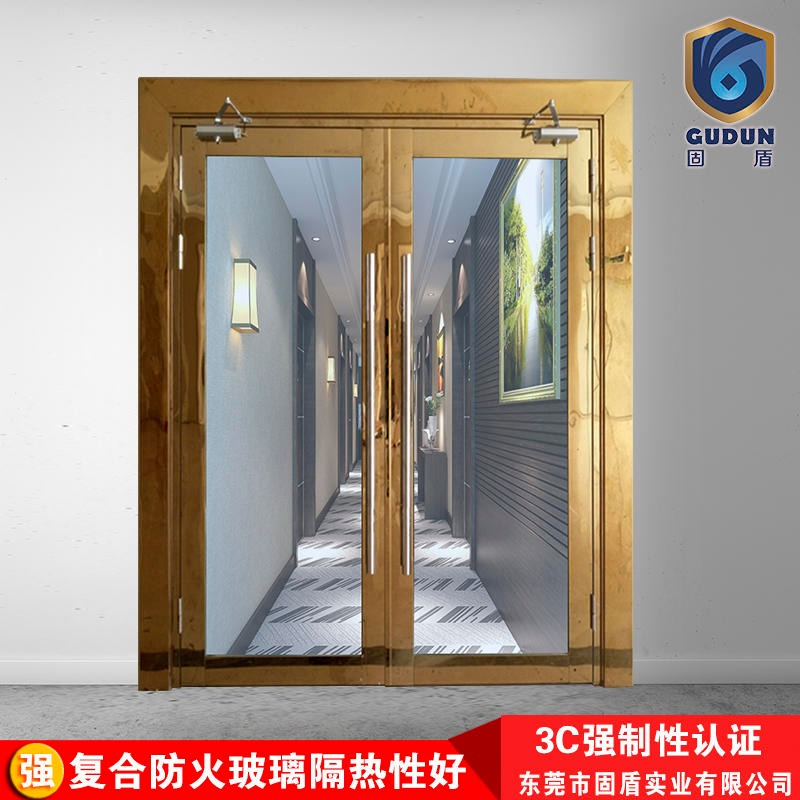 Class a 304 titanium gold stainless steel glass fire doors titanium gold fire doors solid shield factory direct sales
