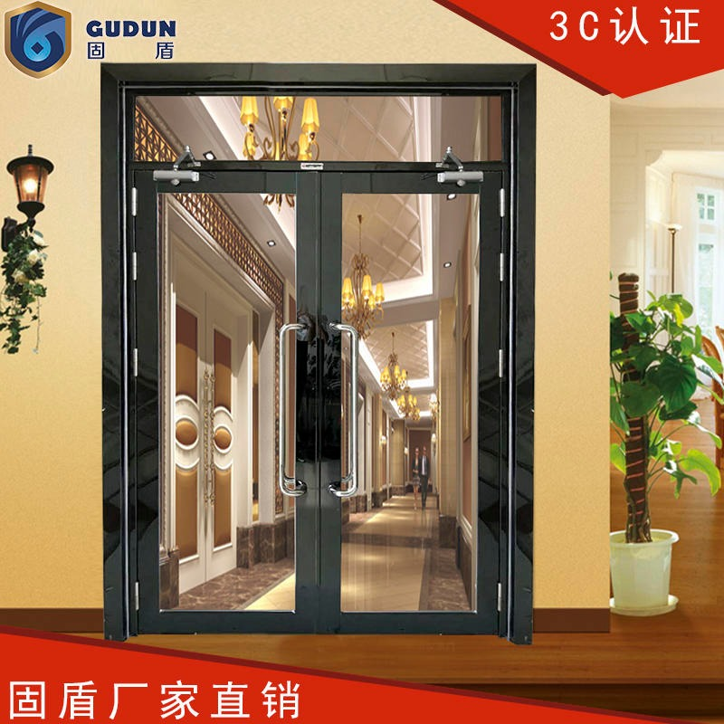 Solid shield black titanium large glass fire door styles complete, black titanium glass fire door firm installation is simple