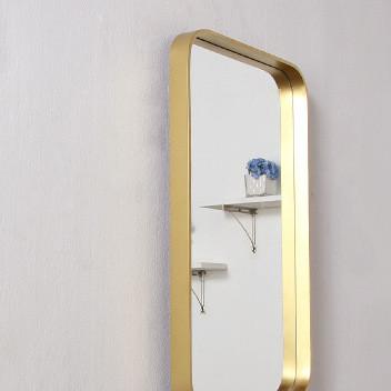 北欧方形金色浴室卫生间镜子客厅玄关墙装饰镜梳妆台化妆镜壁挂镜