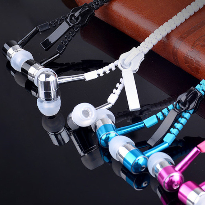 拉链耳机入耳式带麦克风耳机重低音发烧礼品金属耳机货源批发