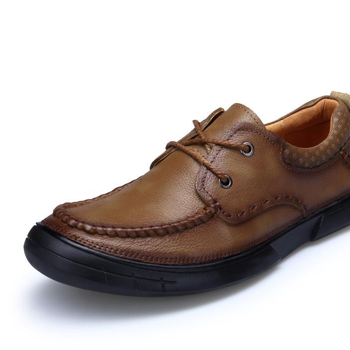 一件代发头层牛皮鞋商务休闲皮鞋圆头男士英伦皮鞋耐磨系带大头鞋