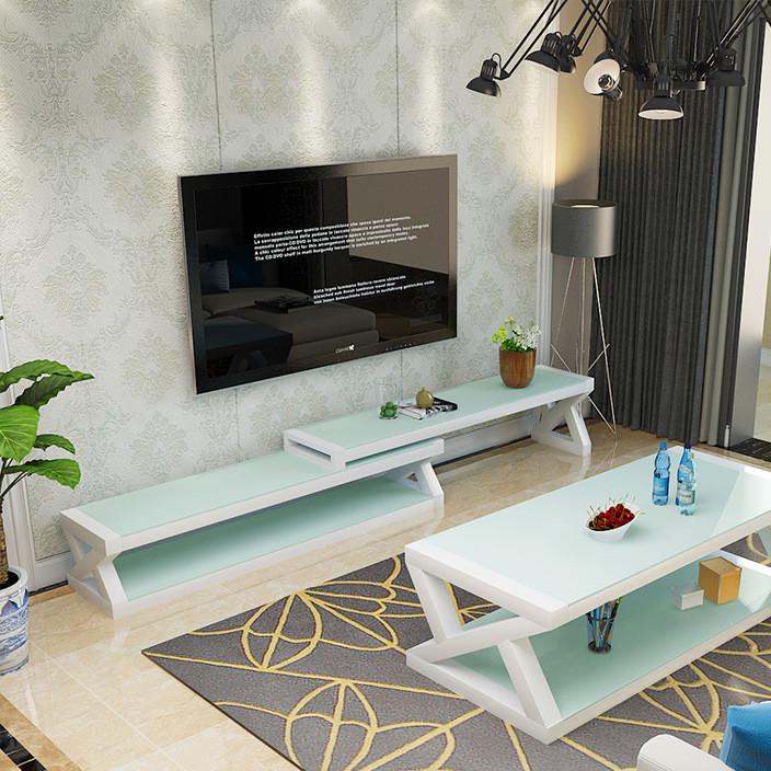 钢化玻璃电视柜茶几组合可伸缩北欧简约现代小户型客厅烤漆视听柜