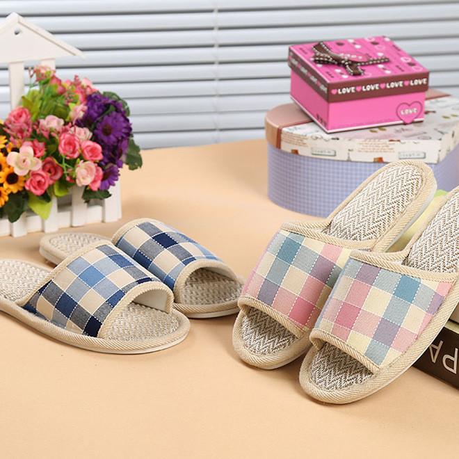 厂家爆款新款格子家居家男女情侣亚麻拖鞋木地板室内夏季凉拖鞋