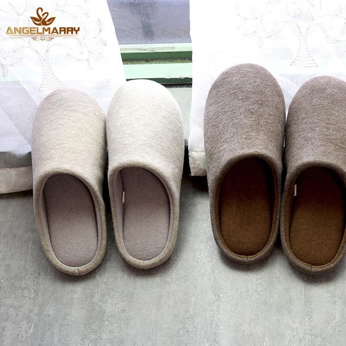 秋冬新品纯色针织哈拖鞋男生女生情侣室内防滑保暖棉拖鞋一件代发