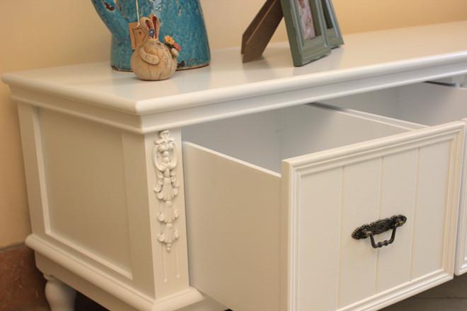客厅1.4米四抽电视柜 视听柜 储物电视柜 韩式精致白色贴花家具