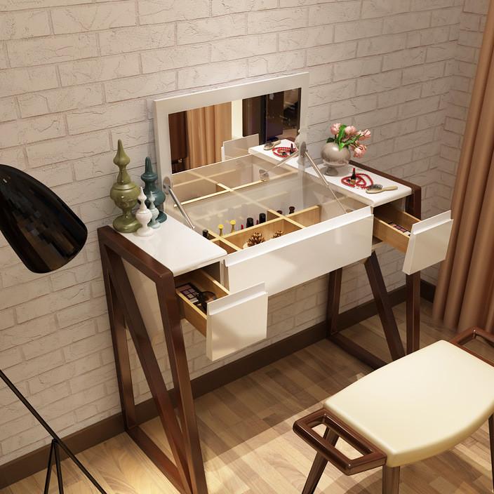北欧梳妆台卧室翻盖实木多功能折叠组装简约储物小户型化妆桌柜子