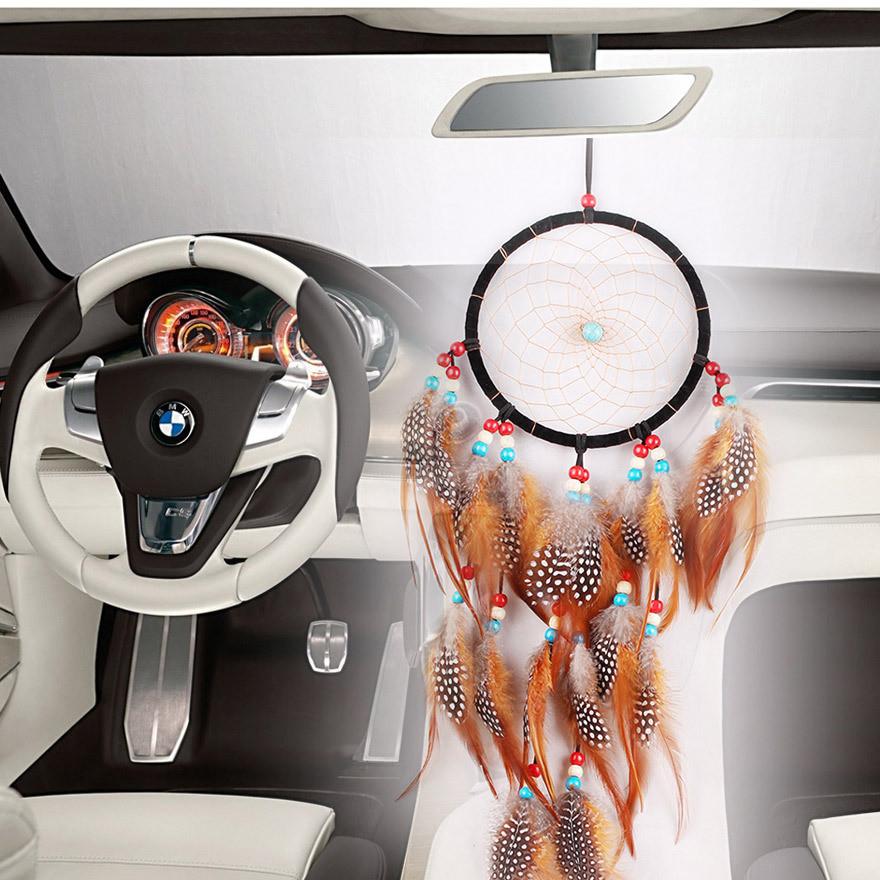 MS6065 新品印第安波点捕梦网 家居创意手工品壁式 车载羽毛挂件