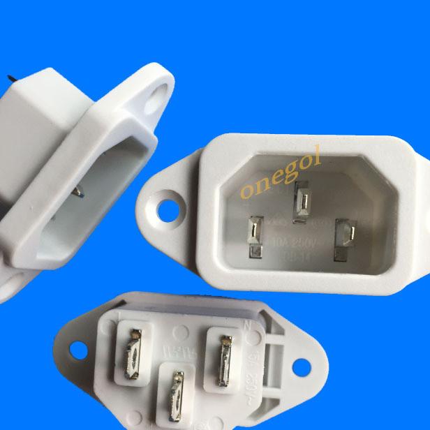 供应电源插座C14品字电源插座 白色品字插座 台湾品牌 带认证