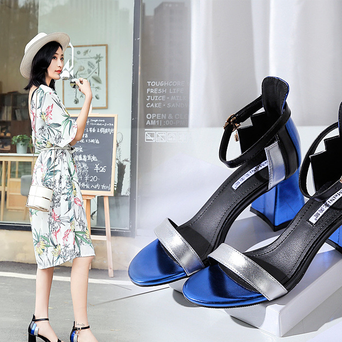 Metallic sequined chunky heels with one-button strap and matching color for women's sandals are new for summer 2019