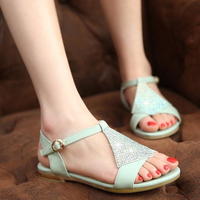 绿色杏色平跟凉鞋牛皮真皮凉鞋学生鞋孕妇鞋妈妈鞋中学生 JZQ