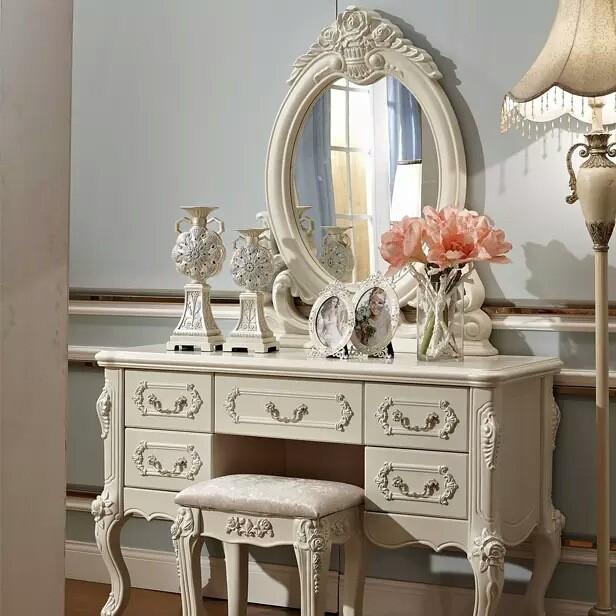 欧式家具法式梳妆台欧式田园妆台小户型化化妆桌多抽储物柜1.2米