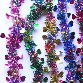 批发2米七彩龙珠 圣诞爱心毛条桃心拉花彩带生日婚庆用品装饰品