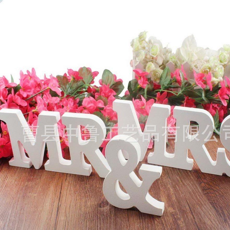 厂家直销木制MR MRS 婚礼道具 木质英文字母摆件 婚礼用品大写