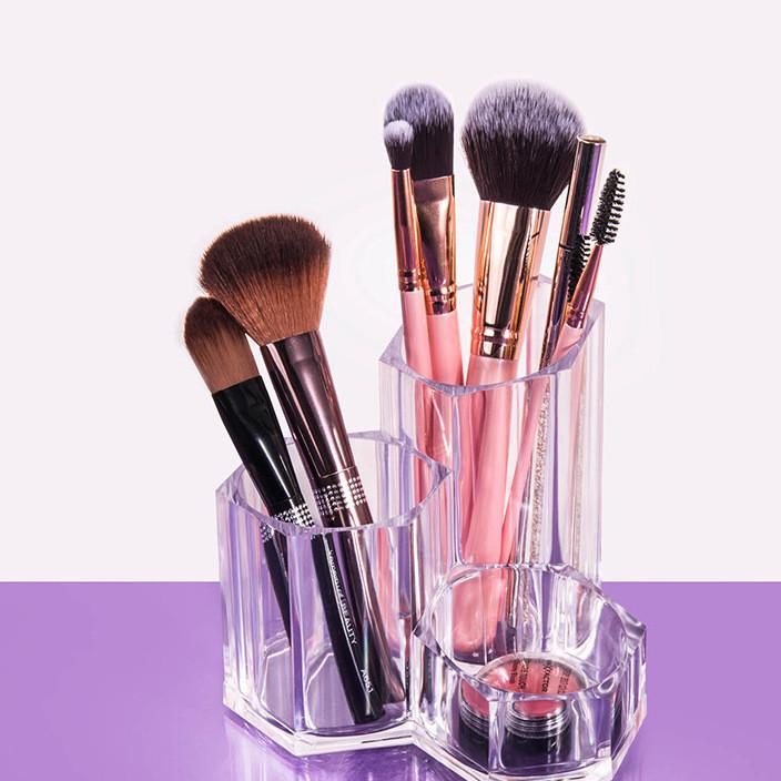漫享亚克力化妆刷收纳筒梳妆台彩妆眉笔粉刷收纳盒美妆透明套刷桶