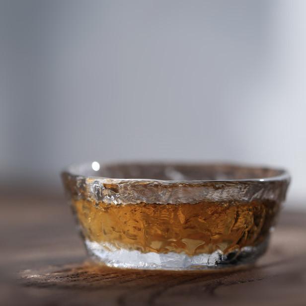 初雪公道杯耐热玻璃杯 透明锤纹茶杯 职人手工品茗杯个人杯主人杯