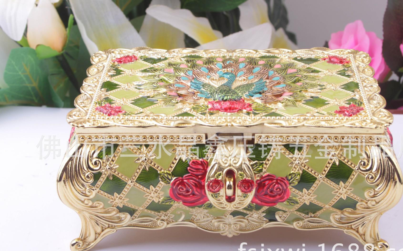 热卖 金属 首饰盒 梳妆台摆饰高档送人精美礼品 锌合金珠宝首饰盒
