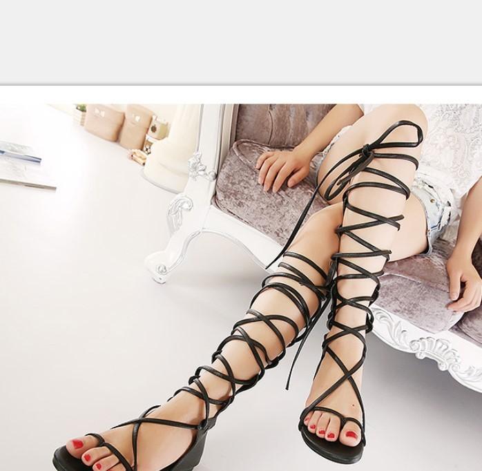 2019年春季韩国最爆款皮带凉鞋平跟鞋夹脚罗马鞋镂空女鞋mzu169-6