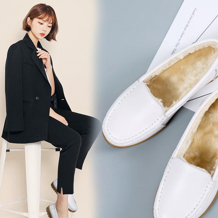 小语鹿AZ-6618冬季女鞋平底加绒护士工作小白鞋软底防滑保暖女靴