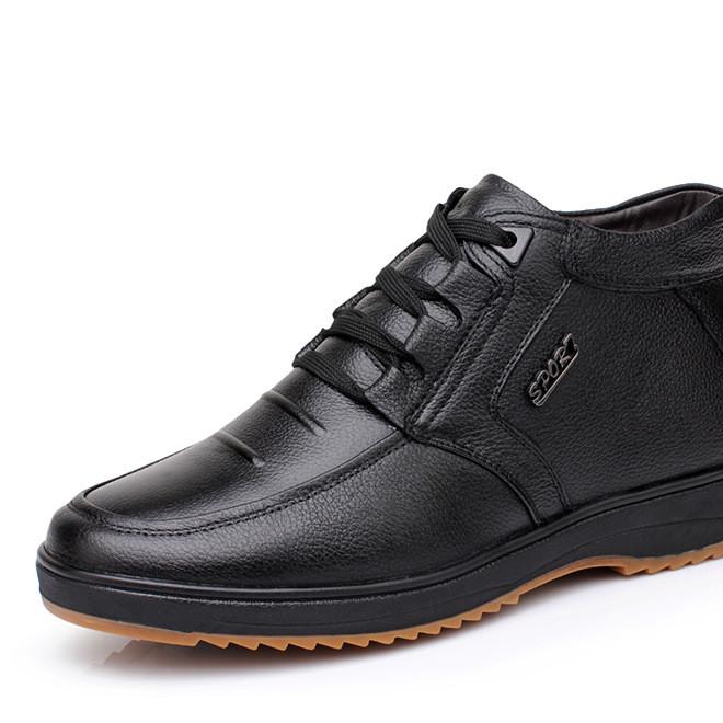 2019冬季新款棉鞋 大码真皮加绒加厚棉靴 男士系带保暖男鞋批发潮