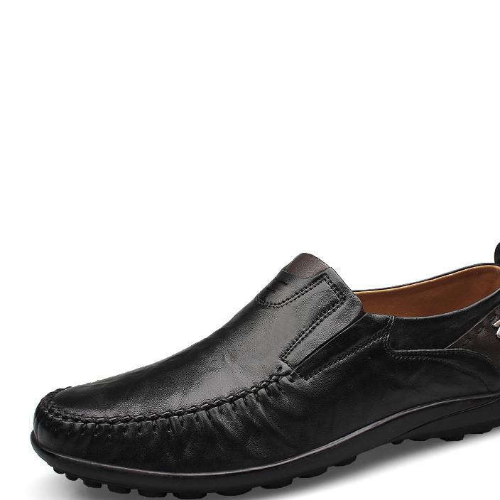 跨境专供男鞋真皮2019热卖男士皮鞋 软底单鞋豆豆鞋大码休闲男鞋