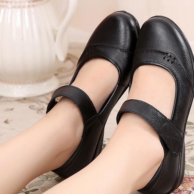 浅口妈妈鞋真皮单鞋中老年皮鞋软底防滑女鞋平底工作鞋女一件代发