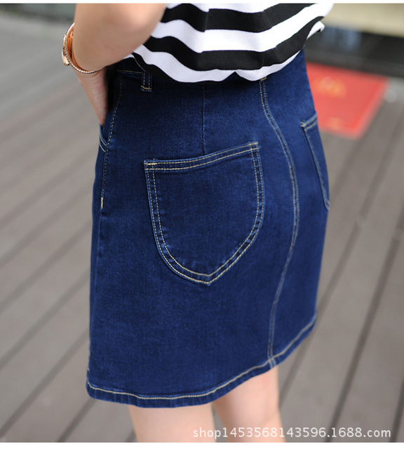 夏季牛仔短裙 韩版单排扣高腰牛仔短裙 简约时尚学生包臀短裙