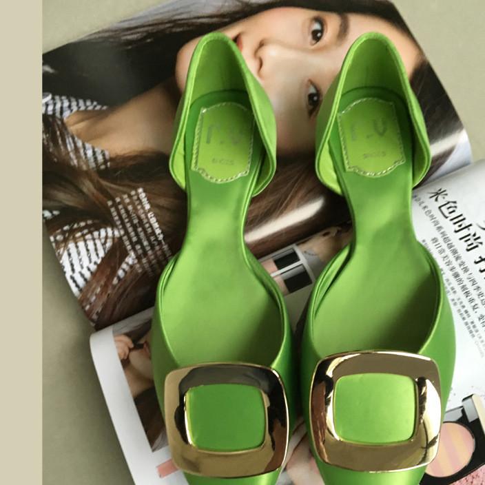 新款rv平底鞋金属方扣单鞋尖头浅口女鞋绸缎面四季鞋mb平跟鞋婚鞋