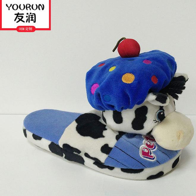 毛绒玩具厂家定制棉拖鞋 创意个性小奶牛露跟拖鞋批发定做
