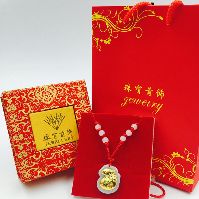 Jade inlaid gold pendant gold inlaid jade gold necklace promotional gift set