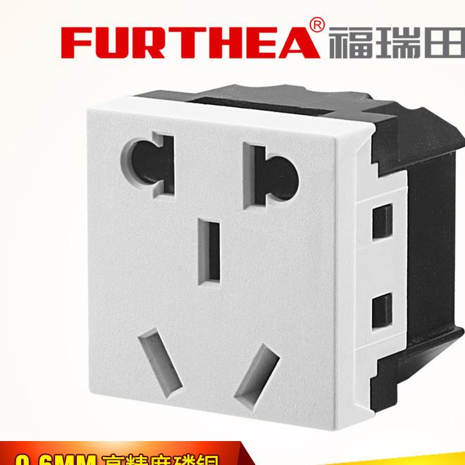卡式嵌入式10A二三插带安全门保护新国标小五孔桌面ac电源插座黑
