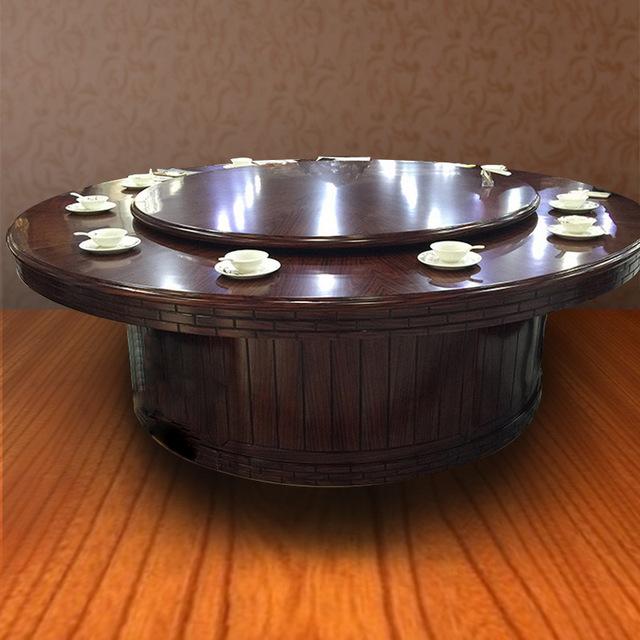 中今家具厂家直销 可批发定制酒店高档榆木实木手动转盘餐桌大圆桌