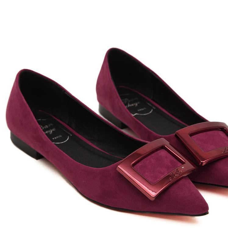 直销14春夏欧美大牌同款绒面尖头平跟鞋 金属平底鞋单鞋 方扣女鞋