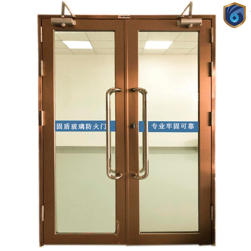 Rose gold big glass stainless steel fire door solid shield manufacturers provide fire acceptance data double open rose gold fire glass door sales nationwide