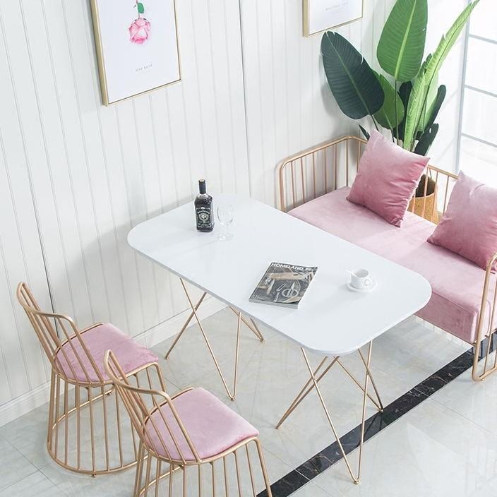 北欧金色餐桌椅组合 简约咖啡厅奶茶店实木长桌铁艺椭圆休闲桌椅