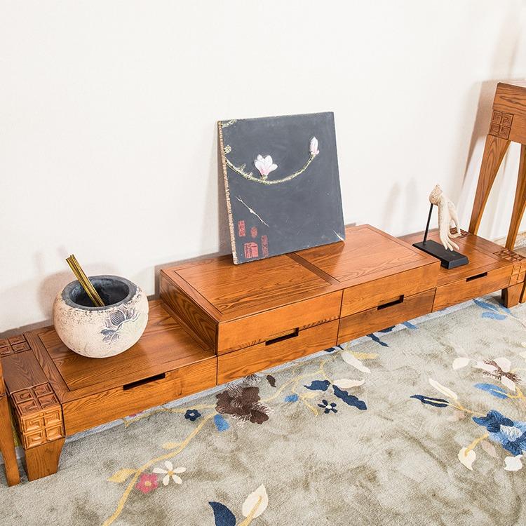 东莞展博实木电视柜ZB-25白蜡木新中式家具定制厂家报价客厅家具