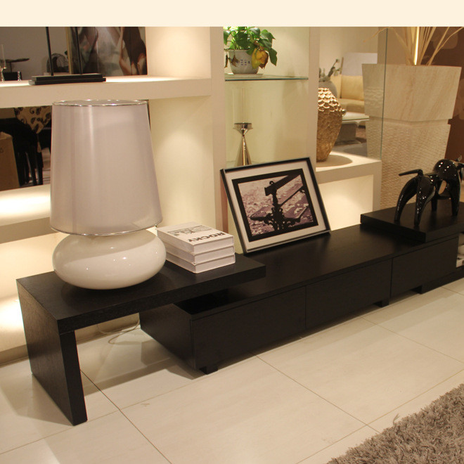 多功能小户型伸缩电视柜 简约现代 实木皮茶几电视柜组合套装